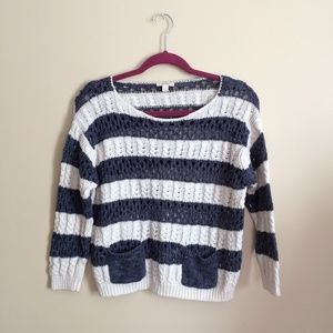 Caslon Striped Woven Sweater with Pockets